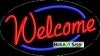 welcome business flashing neon signs