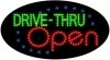drive thru open food and beverage led flashing neon signs