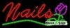 cursive and flower nails business led neon signs