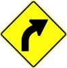 right curve yellow stock traffic signs