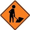 man with shovel stock traffic signs