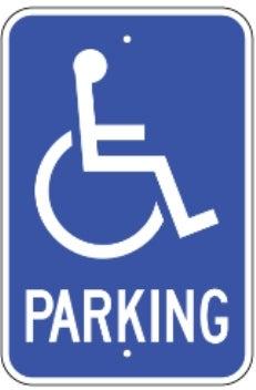 parking with handicap logo 12 x18 080 egp blue white